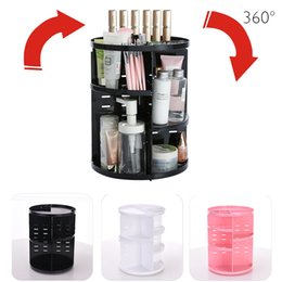 Wholesale White Makeup Storage Boxes - 360 Degree Rotation Cosmetic Storage Box Plastic Makeup Storage Box Rotating Cosmetic Organizer Jewelry Box Lipstick Holder Container