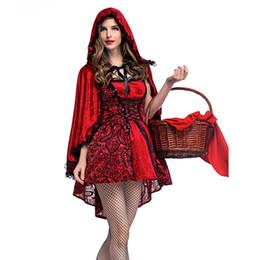 Schal für rotes kleid online-ISHINE Gothic Rotkäppchen Nachtclub Königin Kostüm Cosplay Kostüm Bühne Kleid Halloween Urlaub Party Spitze Schal