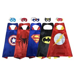 Wholesale Blue Year - wholesale Kids Costume double Layer satin Cape with Mask Set holiday halloween party favor superhero cosplay costume