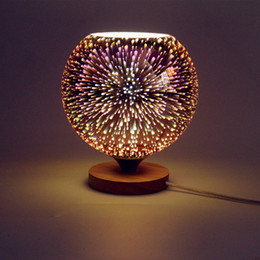 Wholesale Wood Base Led Light - Modern table lamp wood base and colorful 3D glass lamp shade LED indoor light desk bed room Office table