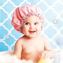 Wholesale Shower Cap Child - 6 colors Double deck shower cap satin bathing dot bathing cap PEVA child shower cap BH119