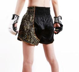 Wholesale Mma Fighting Shorts - Free shipping cheap MMA shorts men fight BoxingTrunks muay thai short kids mma fight shorts Thicken embroidery Kickboxing Black