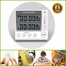 Wholesale Digital Display Clock Countdown - Digital kitchen cooking timer clock, 2-channel simultaneous timer countdown pocket timer, large LED display, loud alarm, memory