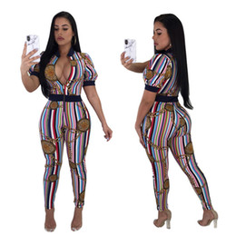 Wholesale women s cloths - Women jumpsuits Skinny Bodycon Rompers Fashion striped print bodysuits Gym Sports Running Jogging Suit Short-sleeved baseball Cloth