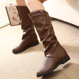 Wholesale Waterproof Long Boots - Long winter boots Korean version of the flat round neck waterproof knight boots female manufacturers wholesale
