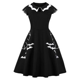 355c485256b49 Women Vintage Gothic Summer Plus Size Dress Black Bat Embroidery Hollow-Out  Color Block Peter Pan Collar Retro Halloween Dresses