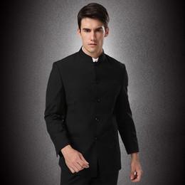 La tunica nera si adatta agli uomini online-(Giacca + pantaloni) Abiti da uomo formale Abiti Pantaloni tunica cinese Abiti Nero Nuovo arrivo Mandarino tradizionale Taglia