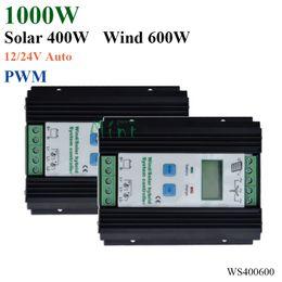 Wholesale solar panels 12v 24v - 1000W Wind Solar Hybrid Controller 600W wind turbine 400W Solar Panel Charge Controller 12V 24V Auto with Big LCD Display