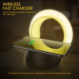 Wholesale led light lamp stand - Real 10W LED Lamp Qi Wireless Charging Pad Charger Holder Stand Foldable Desktop Light For IPhone X Samsung S9