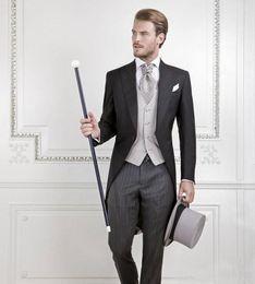 Wholesale Grooms Coat - Cool Black Groom Tuxedos Men Wedding Tailcoat Bridegroom Suit Best Men Suit swallow-tailed Coat (Jacket+Pants+vest)