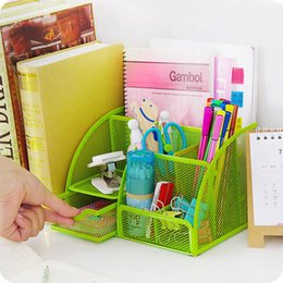 Wholesale Desktop Drawers - New Colorful Home Office School Metal Desktop Storage Box Organiser Drawer Pen Card Office Zakka Organizer Stationery Holder