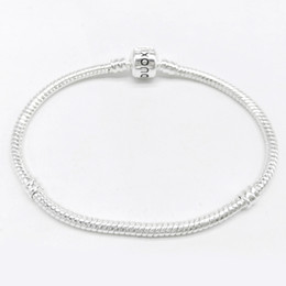 Wholesale Barrel Plating - for pandora bracelet sterling 925 silver plated DIY snake chain with Barrel Clasp Fit Stainless Steel snake chain no harm to skin