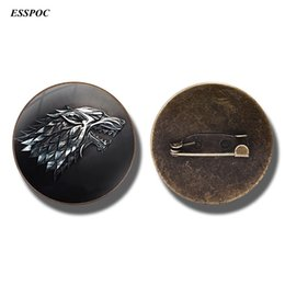 Wholesale cabochon brooch - Game of Thrones House Stark Badges Round Glass Cabochon Brooch Pin for Men Women Clothing Accessories
