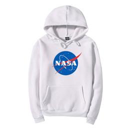 2019 sweat à capuche blanc NASA Hoodie Streetwear Hip Hop Kaki Noir Gris Rose Blanc À Capuche À Capuche Hommes Hoodies Sweatshirts Plus La Taille XXL 11 sweat à capuche blanc pas cher