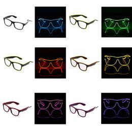 Wholesale Light Up Costume Men - Simple EL Glasses EL Wire Fashion Neon LED Light Up Shutter Shaped Glow Sun Glasses Rave Costume Party DJ Bright SunGlasses 50pcs Free DHL