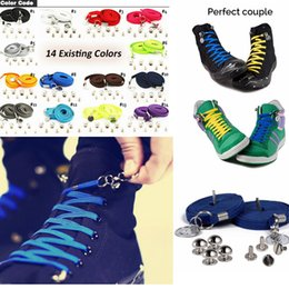 Wholesale family kid - 14 Colors No Tie Quick Shoelaces Lazy Sneaker Shoe Laces Kids Casual Shoes Boy Girl Shoelaces With Metal Circle Buckle Shoes Parts AAA515