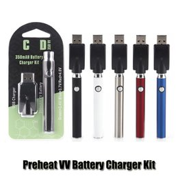 kit mod capaz Desconto Pré-aqueça o VV Battery Charger Kit 350mAh O pré-aquecimento Vertex LO Voltage Variable Pen Bateria Para CE3 TH105 Vape Grosso do petróleo cartuchos de cerâmica