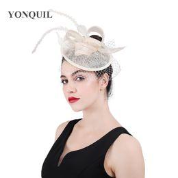 2018 New Vintage mesh headbands headwear women fascinators veil hats sinamay  accessories fancy feather church cocktail headpiece SYF429 cd87fe475625