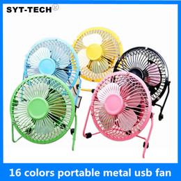 Wholesale Mini Pc Fans - 360 Rotate Metal USB Fan Mini Portable Colored Laptop Power PC Desk Fan 16 Colors Available