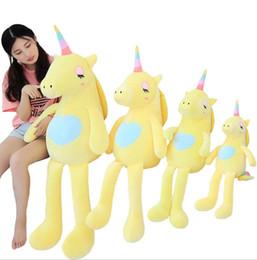 Regalo di cuscini del biglietto di s. valentino online-Cartoon Soft Unicorn Pillow Toys Regali di San Valentino Kids Girls Toys Big Cute Unicorn Peluche Bambola Giocattoli ripiene KKA6160