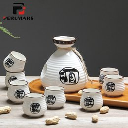 handpainted ceramics Promo Codes - Japanese-style Ceramic Porcelain Brief Sake Cup with 250ml Wine Kettle Kit Home Teacup Milk Coffee Pot Drinkware for Family Gift