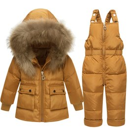 2019 kind weißer mantel Russland Winter-30 Grad Schneeanzug Weiße Ente Daunenjacke Jungen Overall Kinder Jacken Mädchen Anzüge Coat + Bib Hosen Für 1-3 Jahre rabatt kind weißer mantel