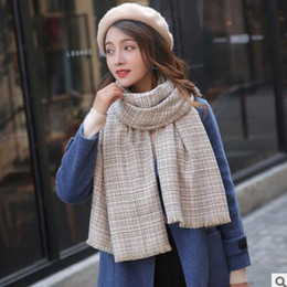 womens checked scarf Promo Codes - Winter new women scarf fine checks cashmere pulled scarf female students to build a thick warm womens neck