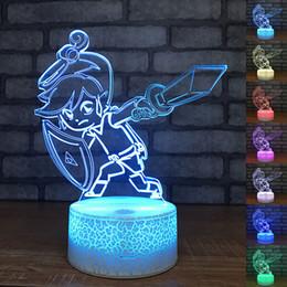 The Legend of Zelda LED Night Lights 3D Link Anime Game Breath of the Wild 7 Lampada da tavolo con cambio colore Lampada da tavolo decorativa per feste da