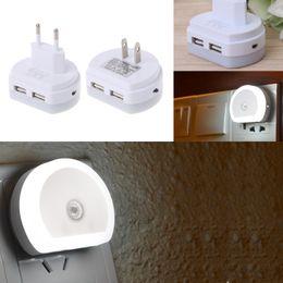 Wholesale Dusk Sensor - YAM White EU US Plug LED Night Light With Dual USB Wall Charger Plug Dusk to Dawn Sensor Wall Lamp