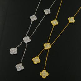 Fascini commerciali online-All'ingrosso commercio estero gioielleria frizzante pieno trapani frange quattro foglie fiori collana di rame placcato oro collana per le donne charms