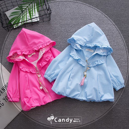 Wholesale Gentle Pink - Hot Selling Ins Baby Kids boy Girl 100% cotton gentle girl air flowing coat long sleeve kids Flounce coat 3 colors #HX136