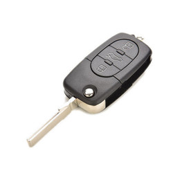 audi a3 keys Desconto 3 Botão Flip Shell Chave Remota apto para Audi A3 A3 A4 A6 A8 Uncut Caso Fob