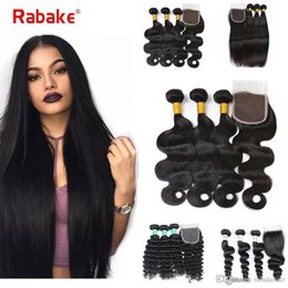 Brazilian Hair 3 Bundles with Closure Body Wave Deep Wave Wholesale Price  8A Virgin Human Hair Extensions 4x4 Weaves Closure for Black Women 8d92906ef