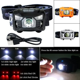 rechargeable headlamp red Promo Codes - Portable Camping Headlight USB Rechargeable CREE 3000 Lumen IR Sensor LED Headlamp Built in battery 4 white+2 red light mode