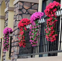 fiori d'orchide pendenti Sconti Nuova decorazione di fiori artificiali viola Simulazione di San Valentino Matrimonio appeso a parete cesto fiore orchidea fiore di seta Vite G280