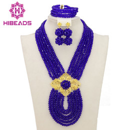 Wholesale Wedding Jewelry Sets Royal Blue - whole saleAfrican Jewelry Sets Royal Blue Nigerian Wedding Beads Fashion Jewelry Set 2017 Chunky Set Free Shipping WB053