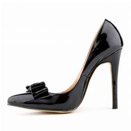 LOSLANDIFEN мода лакированная кожа женские насосы сладкий милый лук острым носом высокие каблуки обувь Стилет насос свадьба обуви Женщина 302-19PA от
