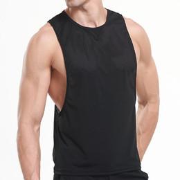 2020 camisa sexy de corte bajo negro Mens Vivid Tank Tops Low Cut Armholes Chaleco 2018 Marca nueva malla transpirable Negro Sexy Tank Muscle Mans Chaleco Singlet camisa camisa sexy de corte bajo negro baratos