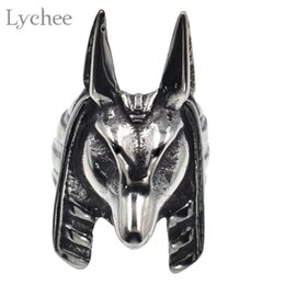 Wholesale Egyptian Rings - whole saleLychee Egypt Titanium Ring Silver Color Egyptian Pharaoh Finger Ring Vintage Punk For Women Men Unisex