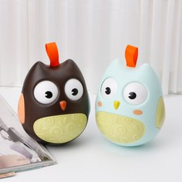 Wholesale Baby Poly - Cute Baby Roly-poly Toys Nodding Moving Eyes Owl Doll Baby Rattles Gifts Baby Tumbler With Bell Toys For Children 70pcs YYA1059