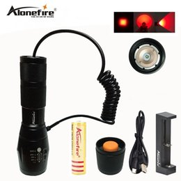 Wholesale Picatinny Flashlights - AloneFire E17 Zoomable Red Light Hunting Flashlight Tactical Torch Night Hunting Picatinny Gun Mount for Rail Rifle Barrel