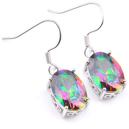 mystic topaz dangle earrings Promo Codes - Luckyshine 6 pieces lot 925 silver plated Oval Natural Mystic Topaz multi-color Crystal earrings for Lady party gift Free shippinng