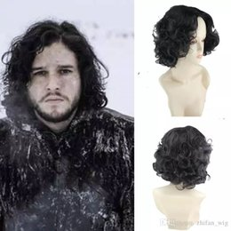Wholesale Short Black Cosplay Wig Curly - Game Of Throne Cosplay Wigs Jon Snow Cosplay Wig 25cm Short Cosplay Curly Costume night watchman Halloween Party