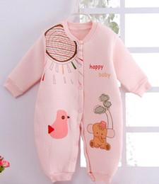 colarinho onesies atacado Desconto 2018 outono e inverno modelos de algodão onesies recém-nascidos de algodão do bebê roupas mudou em sacos de dormir do bebê dois desgaste