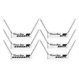 Collares de plata para niños online-DHL Mamá Oso Etiqueta Grabado Animal Colgante Collar Plata Madre Niños Amor Collar Moda Mamá y Niños joyería