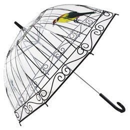 Wholesale Transparent Umbrella Rainy - Transparent Umbrella Rain Women Creative Bird Cage Parasol Long-handle Umbrella 8 Ribs Sunny and Rainy Paraguas