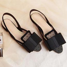 Argentina Slingback negro Sandalias de malla Vestido Sandalias de boda Pisos Zapatos Mujeres Talón plano Diseñador de la marca Corbata de lazo grande Sandalias de verano Mujers cheap big tie bow dresses Suministro