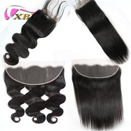 base de seda virgen china Rebajas Top 9A Lace Frontal Brasileño Virgin Hair 100% Body Wave Straight Lace Frontal Cabello humano Cabello natural y top 9A Lace Frontal