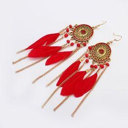Wholesale Coral Drop Earrings - Dangle Red Feather Drop Earrings Beads Bridal Indian Ethnic Vintage for Girls Women Sale Jewelry Pierced Wholesale Earring Stud Fashion