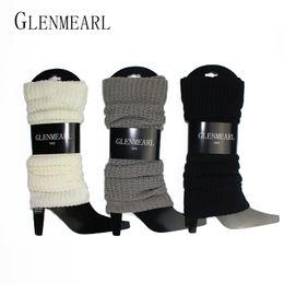 Leggings grises de punto online-Calentadores de piernas de las mujeres de punto Calentadores de otoño invierno cálido leggings Rodillera gris blanco negro Compresión de las señoras arranque calentador de la pierna 40